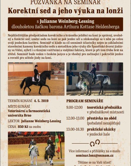 Pozvánka na seminář: Korektní sed a jeho výuka na lonži – Brno, 4. 5. 2019