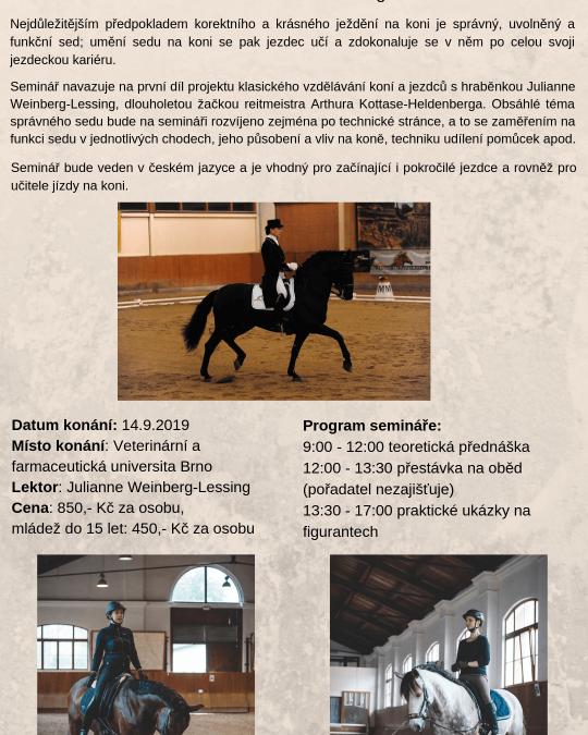 Pozvánky na další semináře s hraběnkou Julianne Weinberg-Lessing v Brně